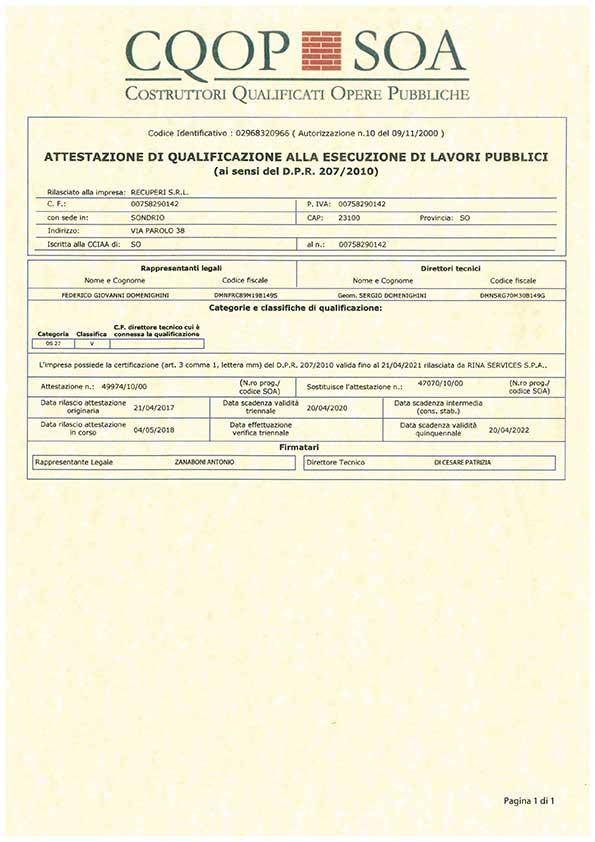 Certificazioni e qualifiche - Recuperi Srl